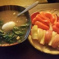 Miso, raw veggies and apple